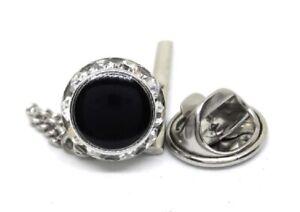 CRYSTAL AND BLACK ENAMEL TIE TACK / LAPEL PIN