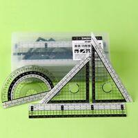 4pcs/set Zeichengarnitur Lineal + 2 Geo Dreieck + Lineal 15cm Winkelmesser A9V4