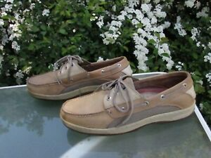 Sperry Top-Sider Mens size 11.5 Beige Leather Loafers Comfort Shoes