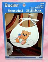 New Bucilla Special Edition Bedtime Bear Counted Cross Stitch Baby Bib