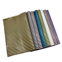 A4 Sheet PU Leather Striped Fabrics DIY Materials For Handbags Garments Craft