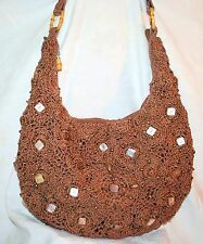 The SAK Ladies Crochet Handbag Brown Shoulder Bag Bamboo and Shell Embellished