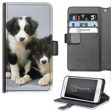Border Collie Puppy Dogs Deluxe PU Leather Wallet Phone Case, Flip Case