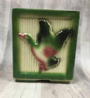 Vintage Shawnee Duck Planter USA Green Pink