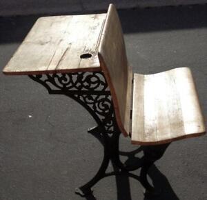 Antique Child's School Desk – Cast Iron Base – GDC – NEEDS TLC –COLLECTIBLE DESK