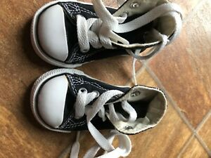New in fant baby toddler Black high top  Converse size 3