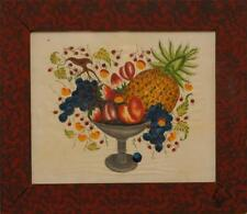 Bill Rank ~ Folk Art Theorem ~ Compote with Colorful Fruit ~ Signed Bill Rank