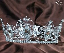 Large Full Round Crown Pageant Tiara Clear Crystal Diadem Bridal Party Costumes