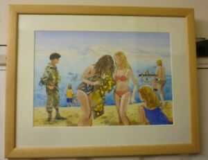 Framed Water Colour By Eric Dawson Called Israeli Soldier And Bathers Dead Sea