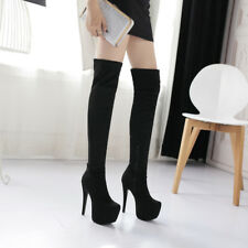 Elissara Women's High Heel Zip Platform Thigh High Over Knee Boots Shoes AU 2-13