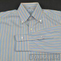 LORO PIANA Blue Yellow Striped 100% Cotton Mens Casual Dress Shirt - 15.5