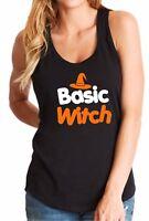 Ladies Tank Top Basic Witch T-Shirt Halloween Costume Funny Women's Tee Shirt