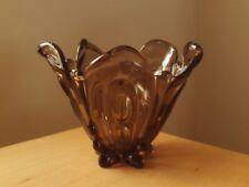 "Vintage Retro Glass Vase / Bowl Decorative Smoke Brown Glass 6 1/4"" High."
