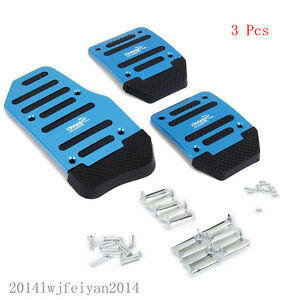 3 Pcs Blue Nonslip Manual Car Pedal Brake Clutch Accelerator Foot Treadle Cover