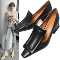 Women's Chic Leather Chunky Mid Heel Pumps Square Toe Shoes Slip On Mules Shoes