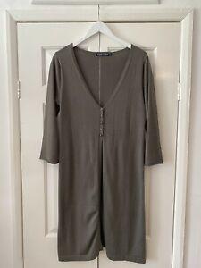 Woolovers Cardigan Medium Khaki Green Silk Blend Half Sleeve Long Knee Length