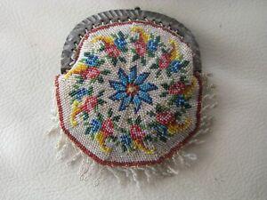 Antique Chatelaine Crochet Floral Micro Bead Fancy Fringe Coin Purse 1890