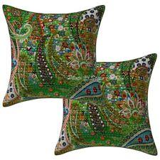 "Ethnic Kantha Pillow Cushion Cover Indian Home Decor Pillowcase Throw 2pcs 16"""
