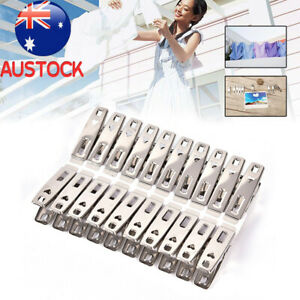 80Pcs Stainless Steel Clothes Pegs Hanging Pins Clips Laundry Metal Clamps