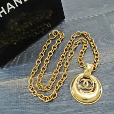 CHANEL Gold Plated CC Logos Charm Vintage Chain Necklace Pendant #5848a Rise-on