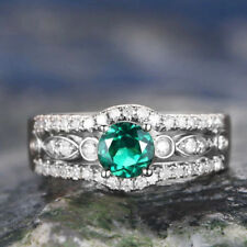 Gorgeous 925 Silver Wedding Rings for Women Round Cut Emerald Ring Size 10