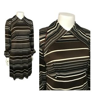 1960s Dress / Brown Stripe Shift Mod Dress Long Sleeve / Small
