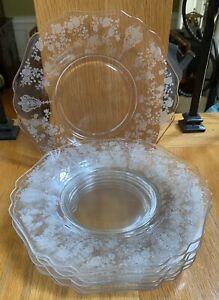 "Cambridge Crystal ROSE POINT Stem #3121 8"" Salad Plates Set of 8"