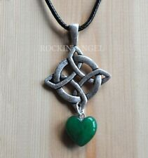 Antique Silver Plt Celtic Knot Pendant & Jade Heart Necklace Ladies GIft Reiki