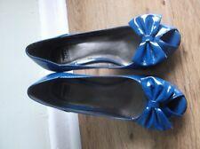 Bertie blue patent bow heels Stilettos peep toes 80s does 50s vintage UK 6