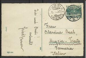1930 NR 502 AUF OSTERKARTE VON GRAZ NACH MUGGIA ITALIEN  (1578)