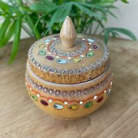 Wooden Trinket Box Bowl Lid Decorative Hand Painted Pyrography Bohemian Decor 3""