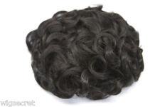 Dark Brown Brunette Medium Human Hair Monofilament Hand Tied Wavy Curly Toupee