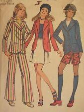 VTG 70 SIMPLICITY 9887 Jr Petites Jacket~Mini Skirt~Pants/Shorts PATTERN 7/32B