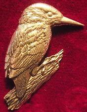 SUPERB Pewter Kingfisher Brooch Pin Craftsman Signed