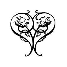 Art Nouveau Heart unmounted rubber stamp, love, Valentines, anniversary #18