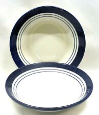 Roma Inc. New York Coupe Pasta/Soup Bowls x2 Italy Blue Band Stripes