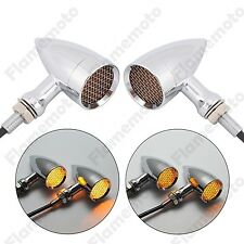 Chrome Amber Motorcycle Mesh Lens LED Turn Signal Brake Light Old School 3 Wire