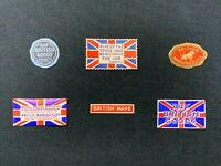 6 x Vintage Shop Labels, Buy British Goods, British Manufacture, Churchill, RF2