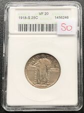 1918 S Standing Liberty Quarter 25c ANACS VF20 Rare #7817