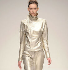TODD LYNN $2,740 light metallic gold leather runway biker Watson jacket 40/4 NEW