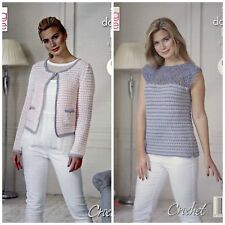 CROCHET PATTERN Ladies Long Sleeve Jacket &Sleeveless Top DK King Cole 5114