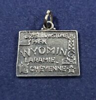 Wyoming State Map Bracelet Charm - Vintage - 925 Sterling Silver