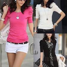 AU SELLER Womens Girls Cotton Puff Ruffle Sleeve Basic Silm Top T-shirt T007