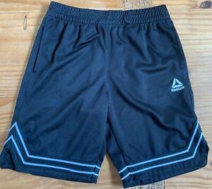 REEBOK Boy's Size 10/12 Black White Athletic Gym Shorts EUC