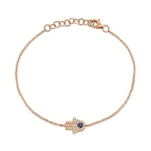 14K Rose Gold Blue Sapphire Diamond Hand Hamsa Bracelet Charm Eye Womens 0.17TCW