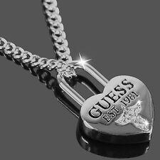 GUESS Halskette Damen Kette Collier Herz LOVE LOCK Silber Zirkonia UBN51449 NEU