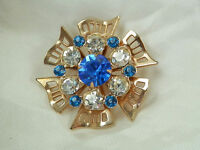 Beautiful & Sparkly Vintage 1950s Blue Rhinestone Brooch  682JL4