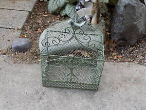 Green Bird Cage Filigreeire Wire & With Bird Attached on Top