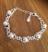 PEARL AND DIAMANTE BRIDAL BRACELET SILVER RHINESTONE AND PEARL WEDDING JEWELRY