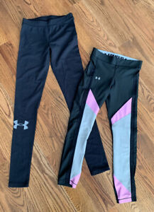 Under Armour Running Athletic Yoga Leggings Pants Womens Size XS (Lot of 2 Black